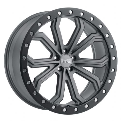 BLACK RHINO TRABUCO MATTE GUNMETAL W/BLACK LIP EDGE & SILVER BOLTS
